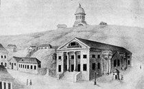 У 1805 році (за іншими даними - у 1803-му) там, де зараз розпочинається Хрещатик і знаходиться Український дім, з'явилася будівля, яка відразу стала епіцентром культурного життя Києва. Це був перший київський Міський театр на 470 місць (архітектор Андрій Меленський).